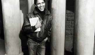"Law student Barack Obama posed for a portrait holding a copy of the Harvard Law Review, of which he was the first black editor. After graduation in 1991, he returned to Chicago, where he had started to set the stage for his political future as a community organizer, and published his 1995 book, ""Dreams From My Father: A Story of Race and Inheritance."""