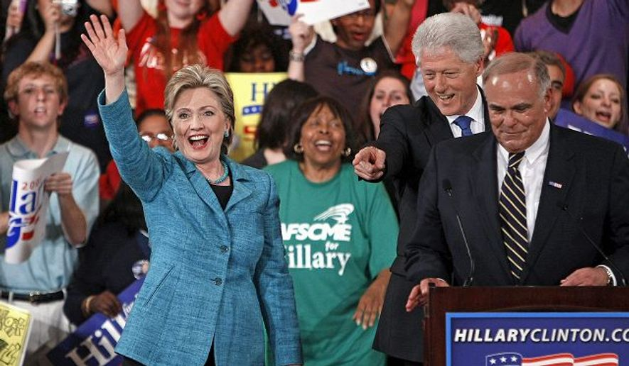 Bill and Hillary Clinton celebrated a primary win in 2008 with Pennsylvania Gov. Edward G. Rendell. (Agence France-Presse/Getty Images)