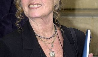 ** FILE ** Former French film star Brigitte Bardot smiles following her meeting with French Prime Minister Lionel Jospin in Paris Monday, July 16, 2001. (AP Photo/Jacques Brinon)