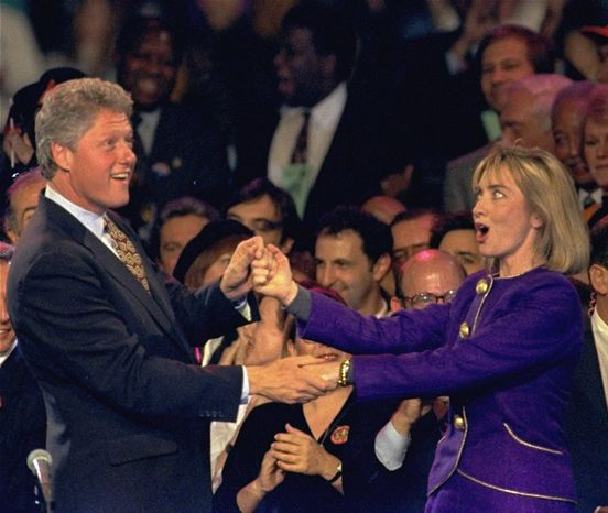 "** FILE ** Seen here two days before the 1992 presidential election, Bill Clinton and Hillary Rodham Clinton dance on stage at a rally at the Brendan Byrne Arena in East Rutherford, N.J. Fleetwood Mac's ""Don't Stop"" was that year's campaign theme song. (Associated Press)"