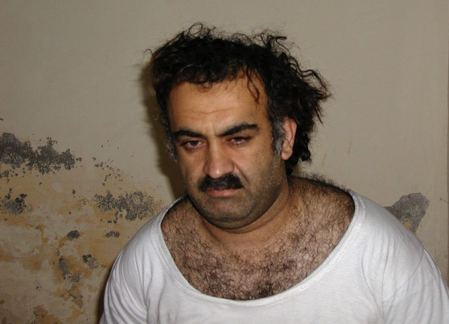 Khalid Sheikh Mohammed is seen shortly after his capture during a raid in Pakistan in this photo from March 1, 2003. (Associated Press) ** FILE **