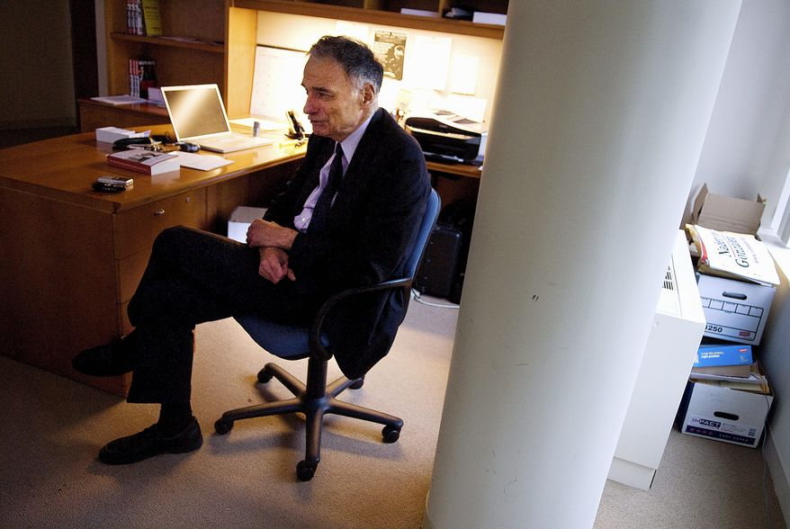 """Ralph Nader has said the 220-year-old """"Electoral College duopoly"""" has effectively locked out third-party and independent candidates and provides little reason for the major parties to foster innovation or progress to the political sphere. (John Tully/The Washington Times)"""
