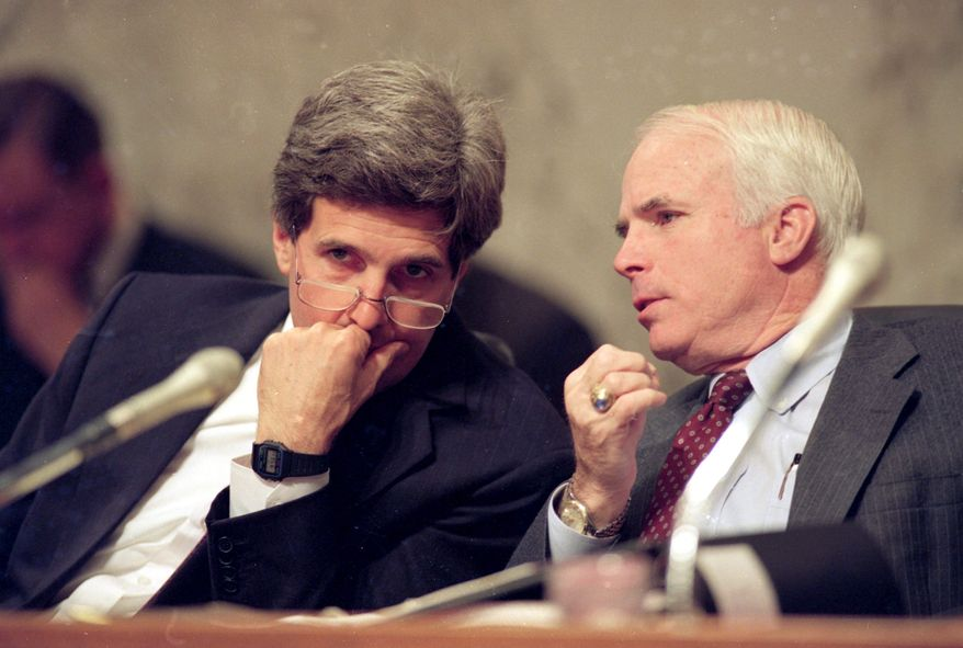 Seen here at a Senate hearing in December 1992 long before either ran for president, Sen. John Kerry (left) listens to Sen. John McCain. Mr. Kerry offered Mr. McCain the No. 2 spot on his ticket in 2004, but now says he is not fit for the White House.