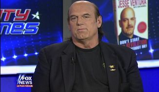 "** FILE ** Former Minnesota Gov. Jesse Ventura appears on Fox News Channel's ""Hannity & Colmes"" in April 2008. (Fox News Channel)"