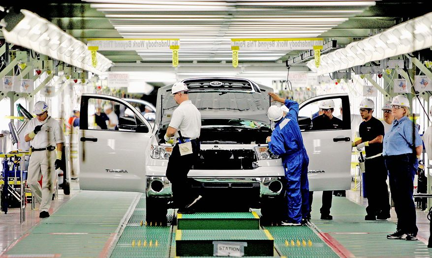 ** FILE * A Toyota Tundra is inspected during the final stages of assembly at Toyota plant in San Antonio in 2008. (AP Photo, File)