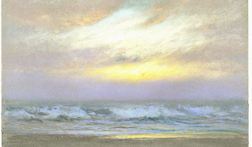 """Dwight William Tryon's """"Sunrise,"""" one of a quartet of water scenes in the exhibition, features a sunny yellow streak across the early morning clouds."""