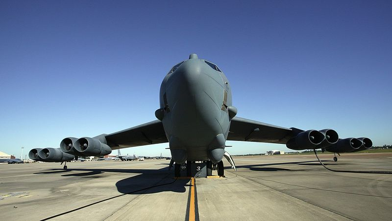 A B-52 bomber, like this one at Barksdale Air Force Base in Louisiana, crashed off Guam, killing at least two people, the Air Force reported. (Associated Press)