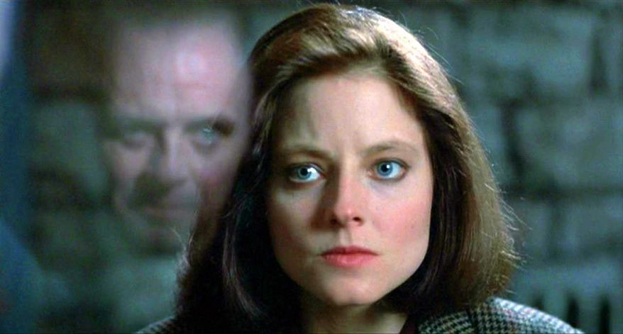 """FBI Trainee Clarice Starling (Jodie Foster) encounters Hannibal """"The Cannibal"""" Lecter (Anthony Hopkins) in 1991's """"Silence of the Lambs."""" (Image: Promotional trailer, """"Silence of the Lambs"""")"""
