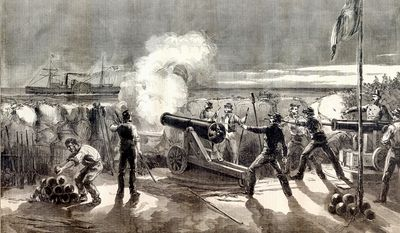 **FILE** A Harper's Weekly drawing shows cadets from The Citadel firing on Star of the West, thought to have been reinforcing the Union garrison at Fort Sumter, on Jan. 9, 1861.