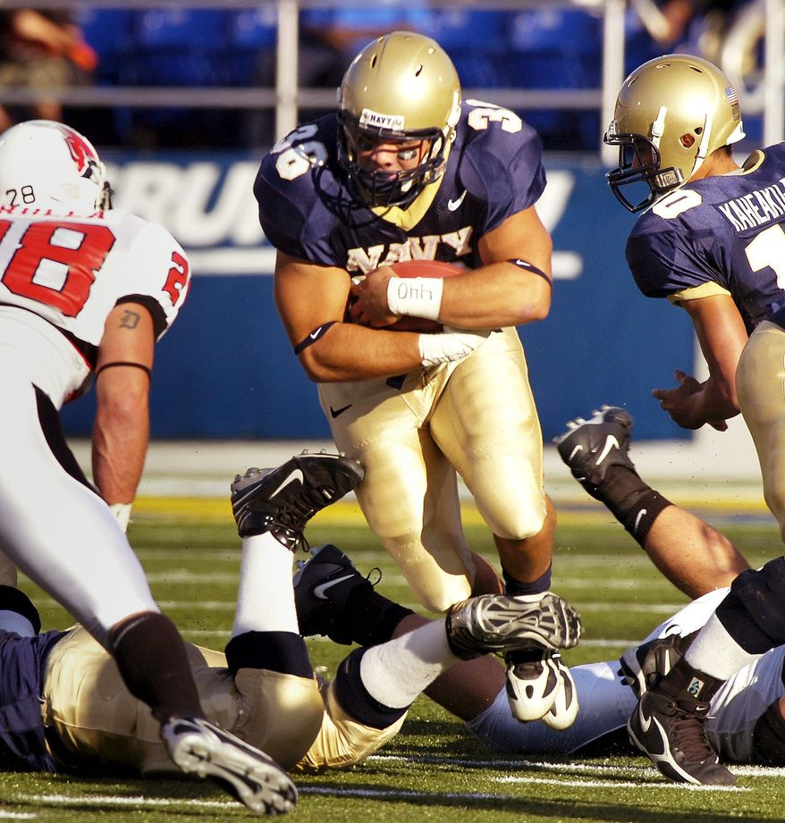 Joseph Silverman / The Washington Times Fullback Eric Kettani led Navy with 880 yards last season and finished with 10 touchdowns.