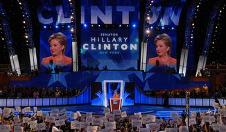 Senator Hillary Clinton, D-NY, addresses the Democratic National Convention. (Astrid Riecken/The Washington Times)