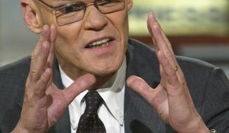 WASHINGTON - MAY 9: Democratic strategist James Carville speaks during a roundtable discussion on NBC's 'Meet the Press' at the NBC studios May 9, 2004 in Washington, DC. Carville spoke about the U.S. presidential race between John Kerry and   George W. Bush. (Photo by Alex Wong/Getty Images)
