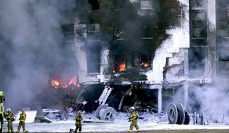 Remains of the Pentagon after a terrorist attack on Tues. September 11, 2001.  (Gerald Herbert/ The Washington Times)
