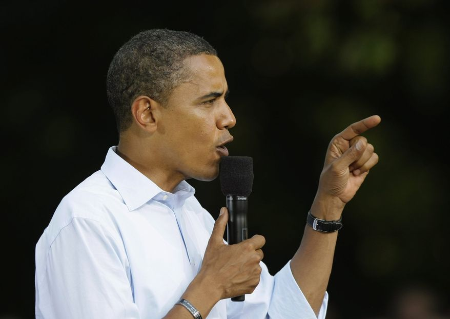 ** FILE ** Then-Sen. Barack Obama speaks at a presidential rally in Lancaster, Pa., on Sept. 4. (Associated Press)