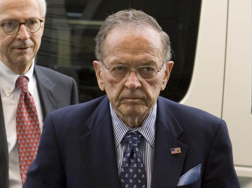 ** FILE ** Sen. Ted Stevens (right), Alaska Republican, followed by his lawyer Brendan Sullivan, arrives at federal court in Washington on Monday, Sept. 22, 2008, on the first day of his trial on corruption charges.