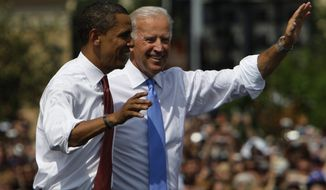Democratic presidential candidate Sen. Barack Obama D-Ill., and his vice presidential running mate Sen. Joe Biden, D-Del., appear together Saturday, Aug. 23, 2008, in Springfield, Ill. (AP Photo/M. Spencer Green)