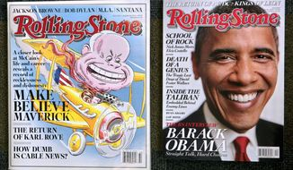 ASSOCIATED PRESS Rolling Stone magazine's last issue in its larger format (left) has a cover on Sen. John McCain. The smaller new issue features Sen. Barack Obama.