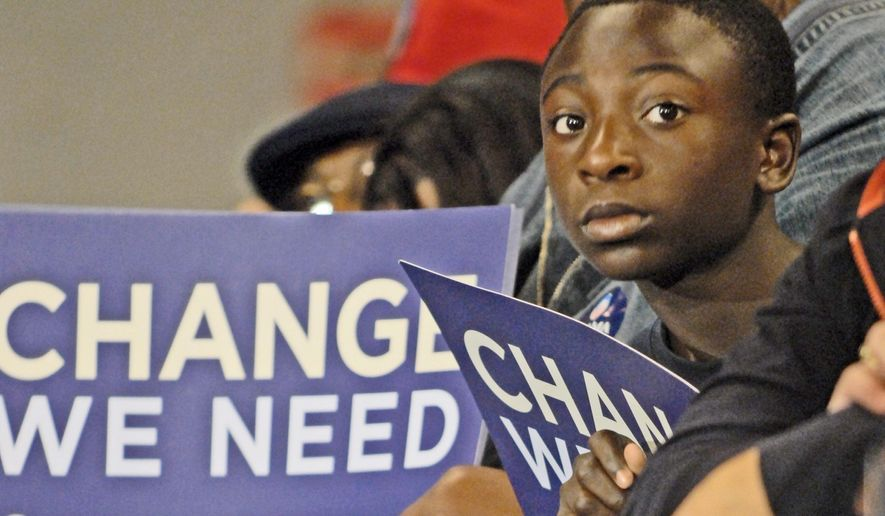 A young man waits for the arrival of Democratic presidential candidate Barack Obama at a campaign rally at the Roanoke Civic Center in Virginia on Oct. 17, 2008. (J.M. Eddins Jr./The Washington Times) **FILE**