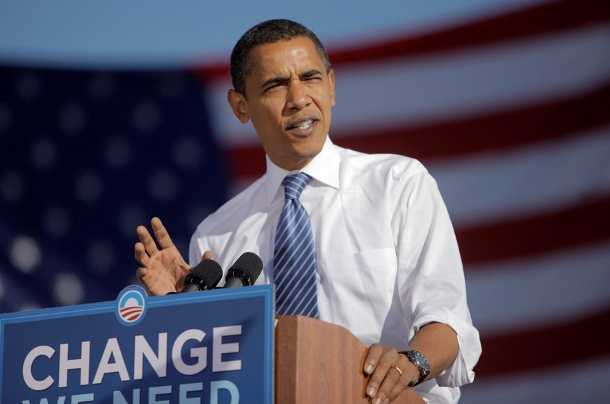 ** FILE ** Then-Sen. Barack Obama campaigns for the presidency in 2008. (Associated Press)