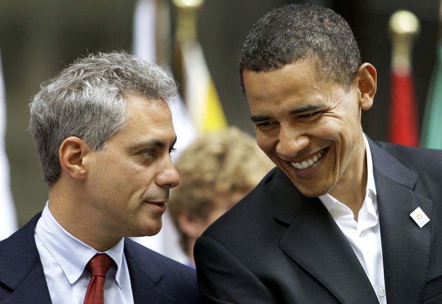 ** FILE ** In this June 6, 2008, photo, Rep. Rahm Emanuel (left) talks with Democratic presidential candidate Sen. Barack Obama at a Chicago 2016 Olympic rally at Daley Center Plaza in Chicago. Mr. Obama's campaign has approached Mr. Emanuel about possibly serving as White House chief of staff, officials said Thursday. (Associated Press)