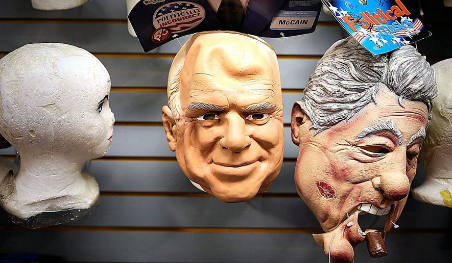 Should President Obama don a Bill Clinton mask so he can hit the campaign trail? Barbara L. Salisbury/The Washington Times