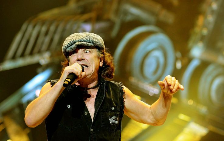 Lead singer Brian Johnson of AC/DC performs during their Black Ice world tour at the Verizon Center in Washington D.C., Saturday, November 15, 2008. (Rod Lamkey Jr/The Washington Times)