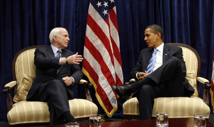President-elect Barack Obama (right) meets with Sen. John McCain on Nov. 17 at Obama's transition office in downtown Chicago. (Associated Press)