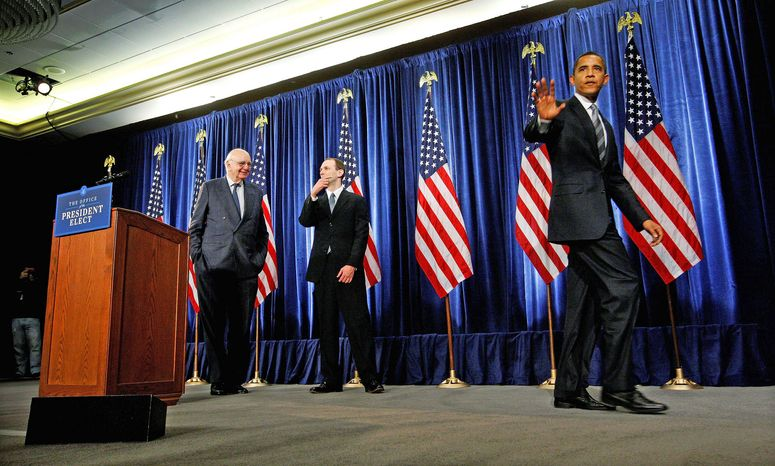 "ASSOCIATED PRESS President-elect Barack Obama leaves a news conference with former Federal Reserve Bank Chairman Paul Volcker (left) and economic adviser Austan Goolsbee (center) in Chicago. Mr. Obama defended his choices as experienced while ""fresh thinking."""