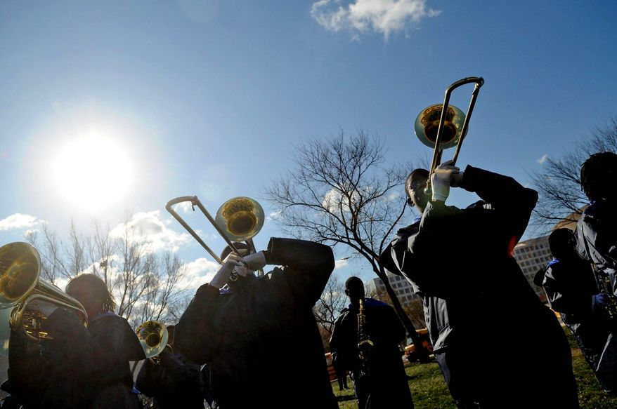 Members of the Ballou Senior High School marching band perform during the 21st Annual Fannie Mae Help the Homeless Walkathon on the Mall. (Rod Lamkey Jr./The Washington Times) ** FILE **