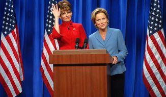 "Tina Fey (left) plays Alaska Gov. Sarah Palin to Amy Poehler's Sen. Hillary Rodham Clinton on ""Saturday Night Live"" in September 2008. (Associated Press, file)"