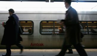 Passengers board an Amtrak Acela train bound for New York at Union Station in Washington in 2008. (The Washington Times)