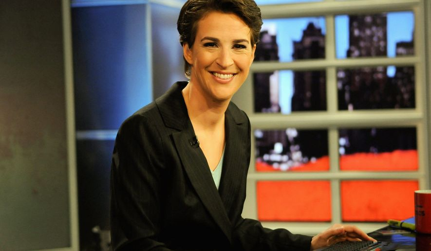 "In this image released by MSNBC, Rachel Maddow from MSNBC's ""The Rachel Maddow Show,"" is shown on Sept. 23, 2008. (AP Photo/ MSNBC, Ali Goldstein) ** ARCHIVE OUT, NO SALES, FOR EDITORIAL USE ONLY **"