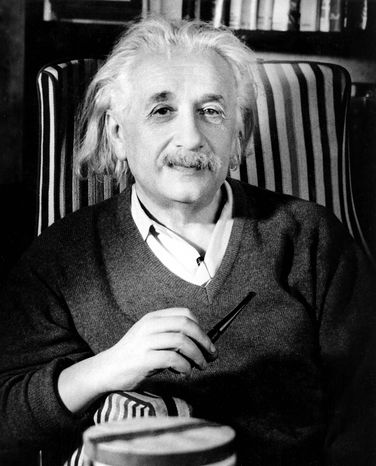 ** FILE ** Albert Einstein is shown a few days before his 70th birthday in his home in Princeton, N.J., in this March 1949 file photo. The famed thinker, winner of the 1921 Nobel Prize in physics, was born in Ulm, Germany, on March 14, 1879. (AP Photo)