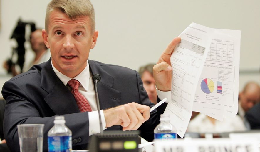 Blackwater Chief Executive Officer Erik Prince defends his company's performance in Iraq before the House oversight committee in 2007. (Associated Press)