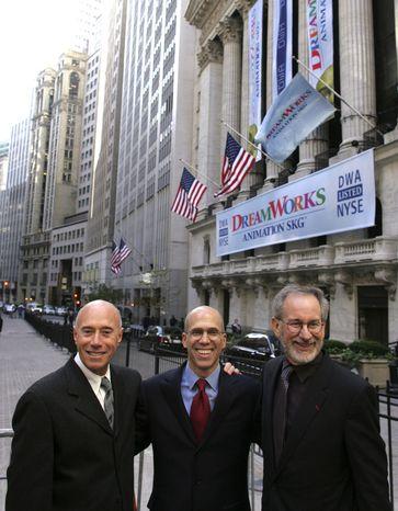 ASSOCIATED PRESS FILE Filmmaker Jeffrey Katzenberg, shown between fellow DreamWorks SKG founders David Geffen (left) and Steven Spielberg.