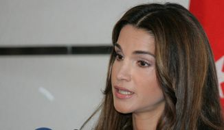 Queen Rania of Jordan speaks to reporters during a meeting of U.N. regional chiefs in Amman Monday. Rania called for emergency financial aid to U.N. agencies assisting the Palestinian refugees in Gaza. (Associated Press) ** FILE **