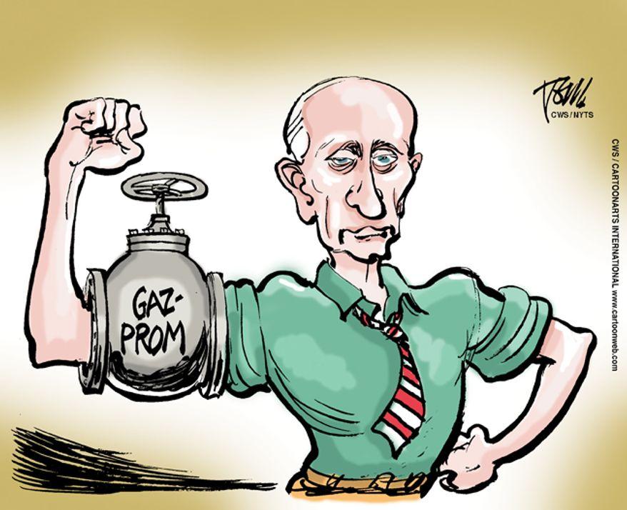 Putin gas muscle/Russian energy Gazprom Russian/Ukraine (CartoonArts International/The New York Times Syndicate/File)