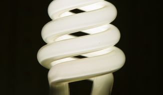 This is a high efficiency compact fluorescent light (CFL) bulb. Associated Press