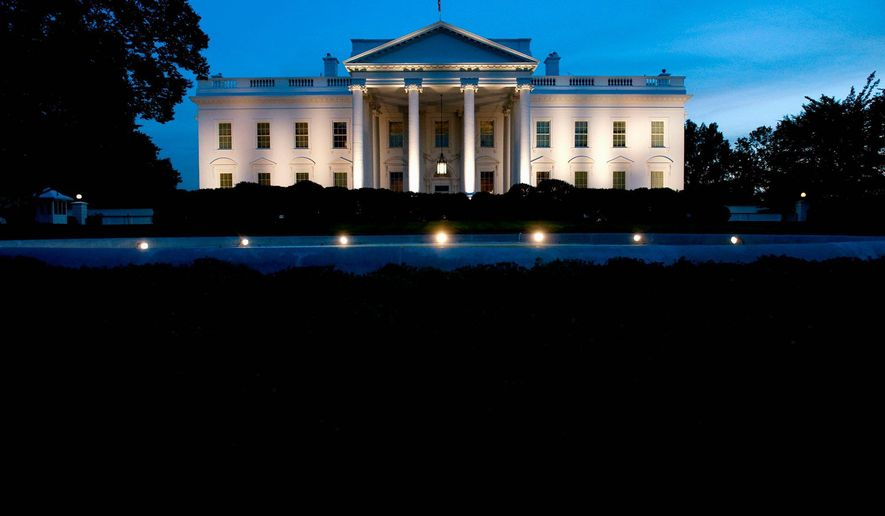 The White House is seen at dusk as illuminated by lights from the North Lawn in Washington, DC, on October 7, 2008. AFP PHOTO / Saul LOEB (Photo credit should read SAUL LOEB/AFP/Getty Images)