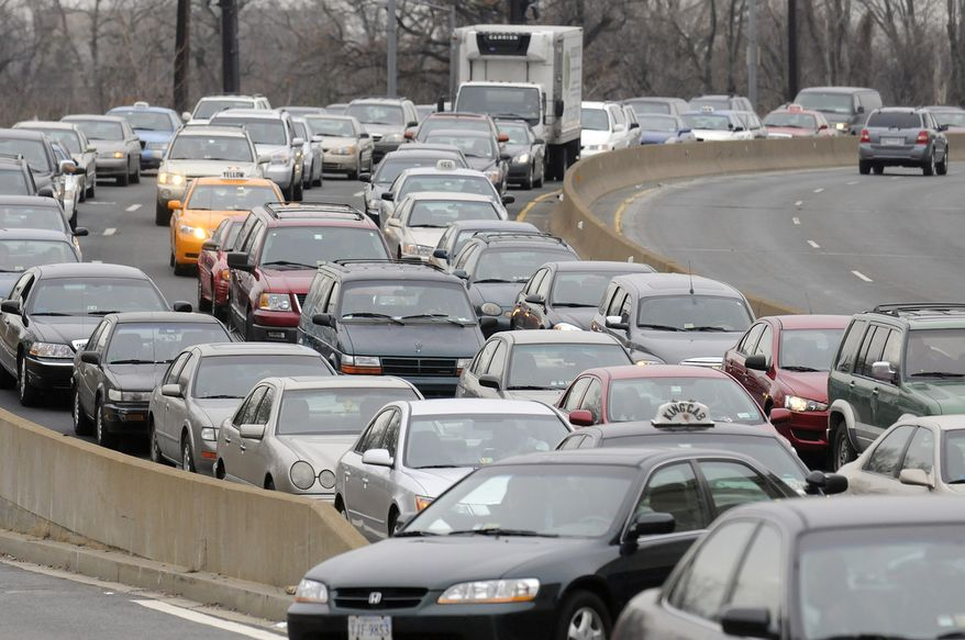 Traffic from Virginia into D.C. slowed along 14th Street during inauguration festivities in Washington, D.C., Sunday. (Peter Lockley / The Washington Times)