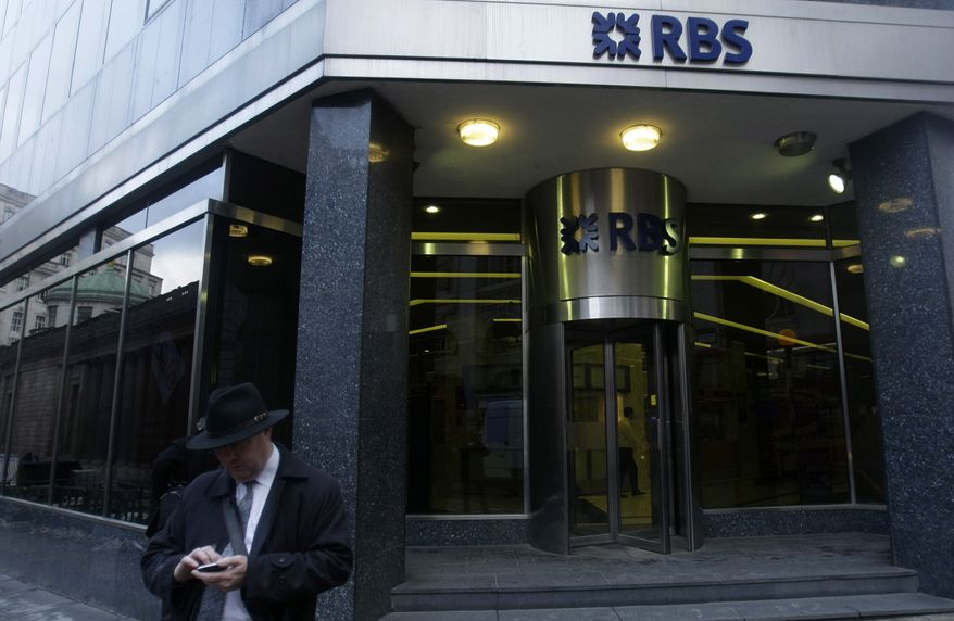 A branch of the Royal Bank of Scotland is seen in London on Jan. 19, 2009. (Associated Press) **FILE**