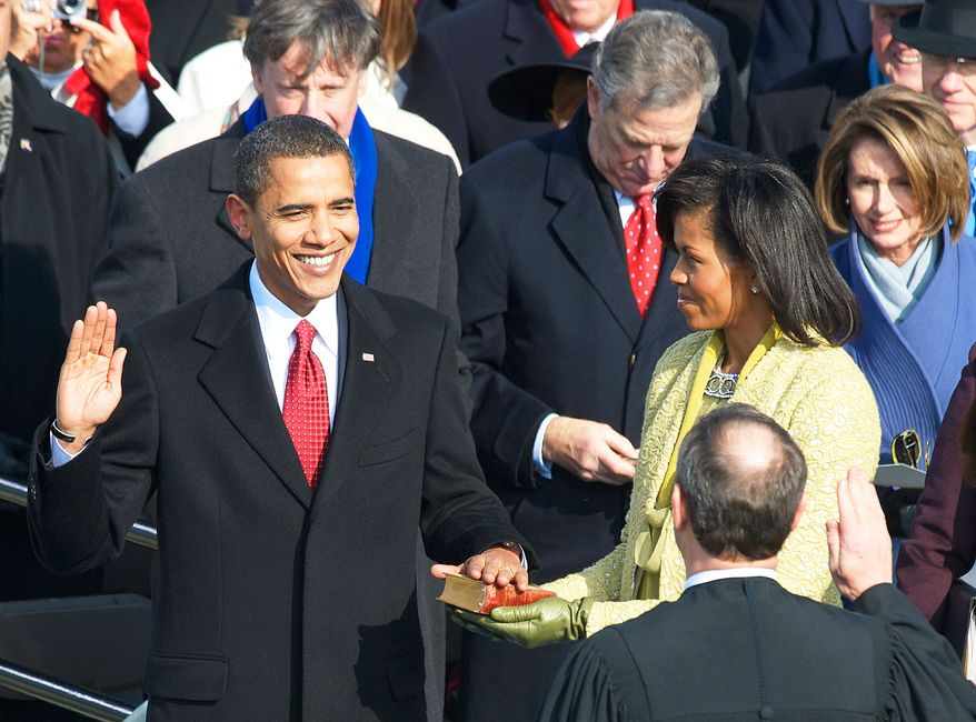 **FILE** Barack Obama is sworn in as the 44th president of the United States of America by Chief Justice of the United States John G. Roberts Jr. at the U.S. Capitol in Washington on Jan. 20, 2009. (J.M. Eddins Jr./The Washington Times)