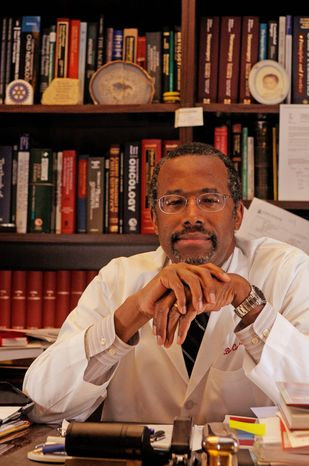 Renowned neurosurgeon Dr. Benjamin Solomon Carson in his office at Johns Hopkins Hospital in Baltimore, Md., on Jan. 29, 2009. (Peter Lockley/The Washington Times)