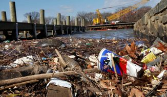 Trash piles up along the Anacostia River in the District on Thursday. D.C. Council member Tommy Wells has a proposal to charge shoppers 5 cents for each plastic and paper bag to help pay for cleanup. (Associated Press/File)