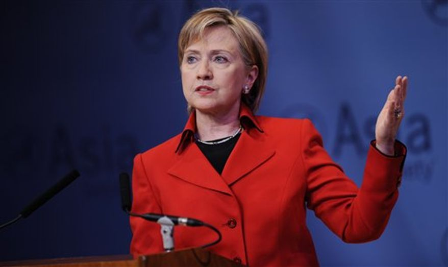 U.S. Secretary of State Hillary Rodham Clinton speaks at the Asia Society in New York on Friday. (Associated Press)