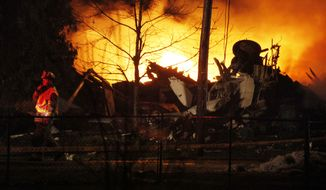 ** FILE ** Flames erupt after Continental Connection Flight 3407 from Newark, N.J., crashed into a house near Buffalo, N.Y., on Thursday, Feb. 12, 2009.