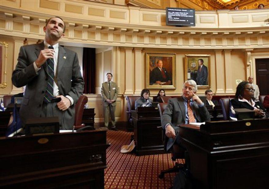 **FILE** Sen. Ralph S. Northam, D-Norfolk during the floor session of the Senate in Richmond, Va., Tuesday, Feb. 17, 2009. (AP Photo/Richmond Times-Dispatch, Bob Brown).
