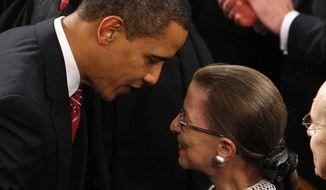 President Barack Obama greets Supreme Court Justice Ruth Bader Ginsburg. Associated Press.
