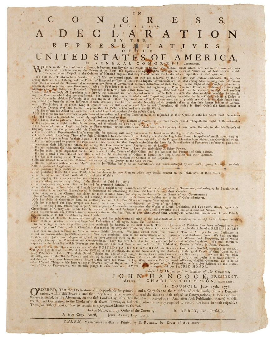 ** FILE ** This rare 1776 copy of the Declaration of Independence previously resided in Wiscasset, Maine, but is now owned by Richard Adams Jr., a Virginia technology entrepreneur. Only 11 of about 250 copies of the 1776 Declaration of Independence are known to still exist. (Associated Press)