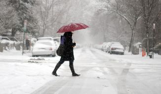 A pedestrian's red umbrella contrasts vividly with the wintery scene in the District on Monday morning. (Astrid Riecken/The Washington Times)